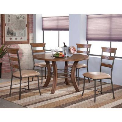 Light Pine & Metal Finish - 5 pc dinette set