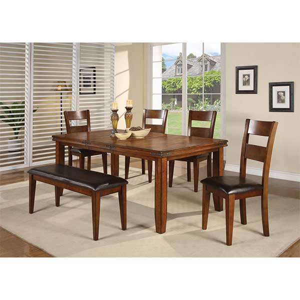 The Mango dinette set includes 4 chairs and 1 bench. Table comes complete with a removable leaf. A mix of charm will bring elegance and practicality to any room.