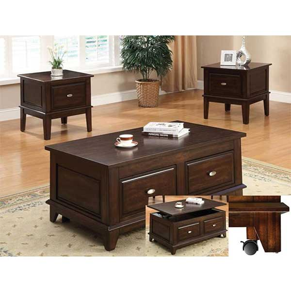 Brown Cherry Lift Top Coffee Table by R&T Furniture