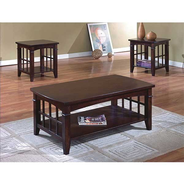 3 pc Dark Cherry Coffee table set by R&T Furniture