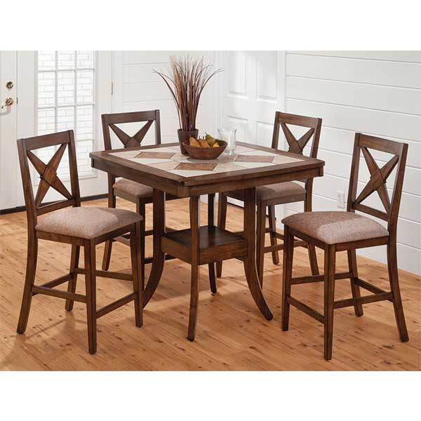 Tile Top Wood - 5 pc dinette set by R&T Furniture