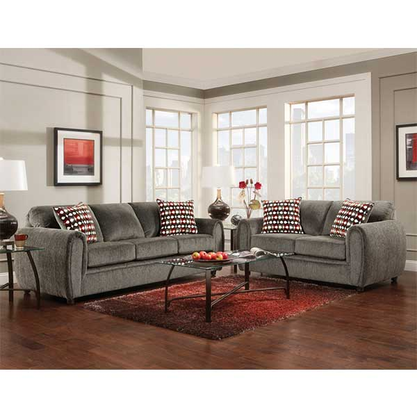 Champs Charcoal Sofa & Loveseat set by R&T Furniture