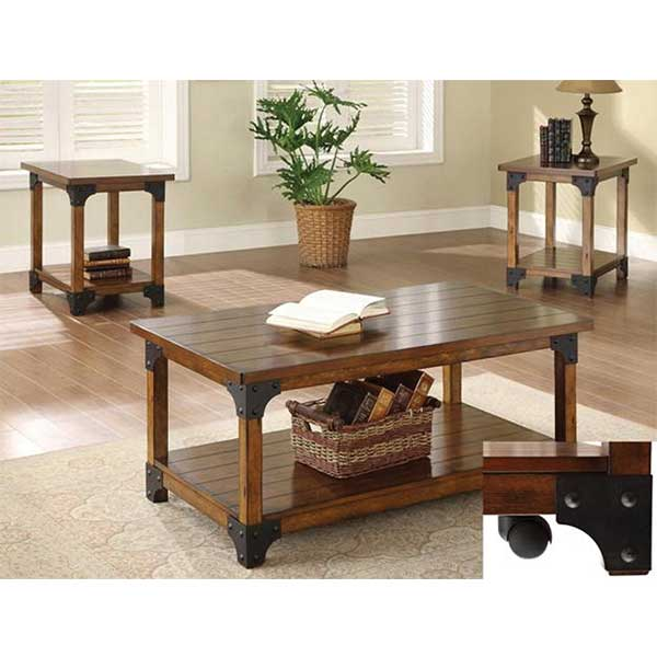 3 pc Oak & Metal Coffee table set by R&T Furniture