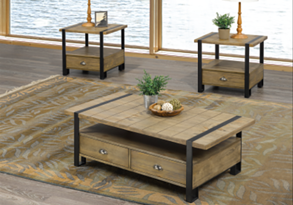 Rental City Titus 3 Pc Modern Country Coffee Table Set